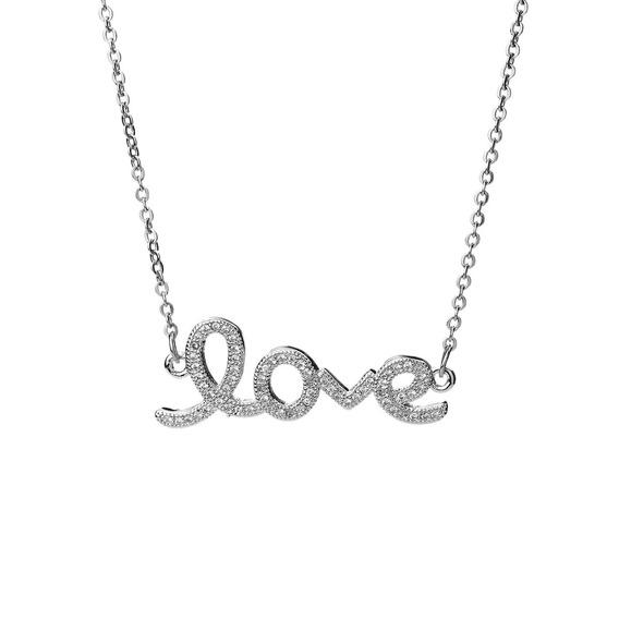 Collar Love Con Piedras Brillosas Acero Inoxidable Plateado