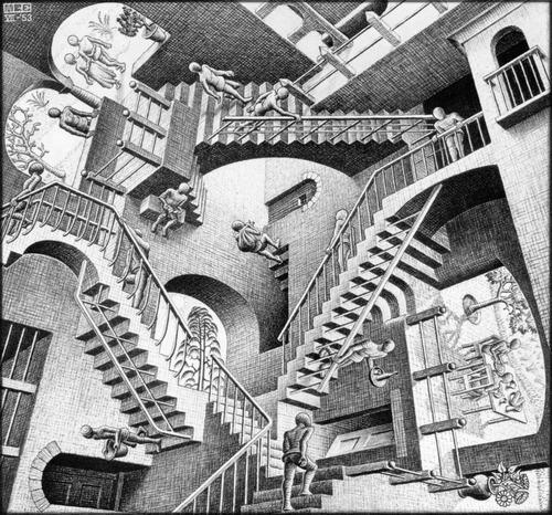 Imagem 1 de 1 de Poster Obra M C Escher 55x60cm Relatividade Pra Decorar Sala