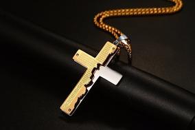 Colar Crucifixo Masculino Prata E Dourado 48414