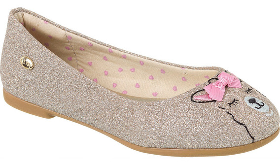 Sapatilha Klin Dourada Brilho Princesa Kids Confortável