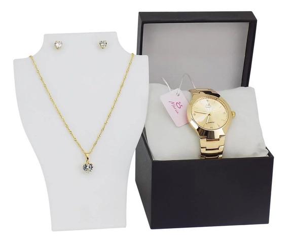 Relógio Feminino Original Orizom Dourado + Brinco & Colar