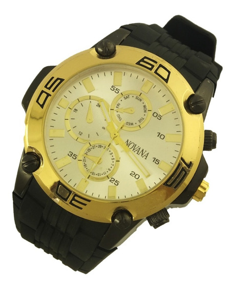 Relógio De Pulso Masculino Novana Pulseira Em Borracha B5720
