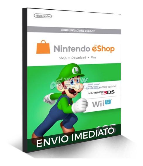 Cartão Nintendo Eshop Usa Switch 3ds Wii U Ecash $35 Dolares