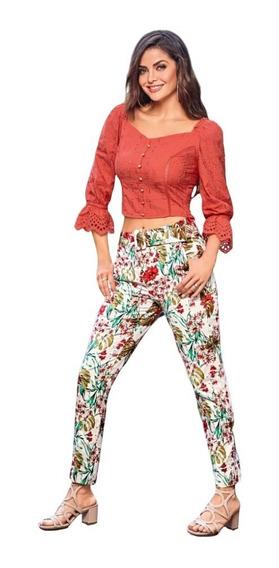 Pantalón Estampado Floreado Con Cinturón