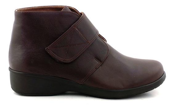 Bota Cuero Briganti Zapato Mujer Abrojo Botita - Mcbo24621