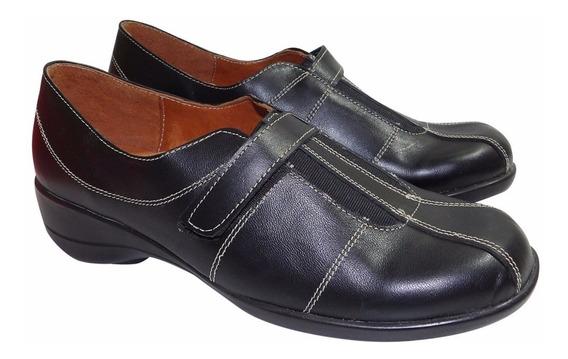 Zapato Zapatilla C/ Abrojo Cuero Mujer - Calzados Union 1357