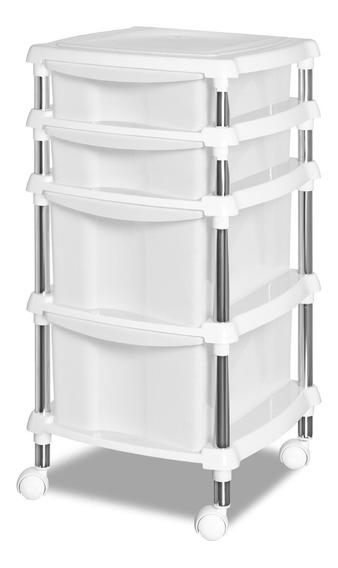 Organizador Multiuso Branco Quarto/cozinha 615-4 Gaveteiro