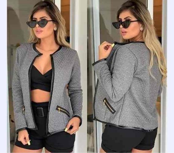Jaquetinha Feminina Blazer Casaco Jacaquard Blusa De Frio