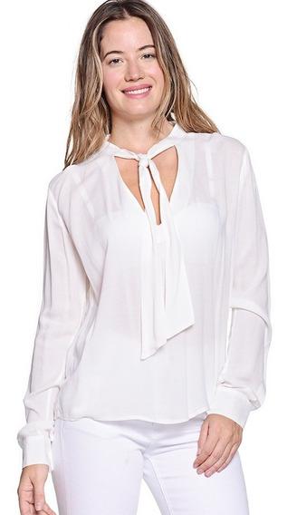 Camisa Manga Larga Seda, Cuello Con Lazo