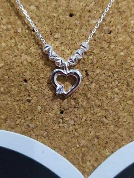 Collar De Corazón Con Zirconia Y Cuentas De Plata Ley .925