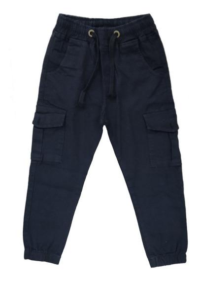 Pantalon Cargo Con Botones De Gabardina Niños