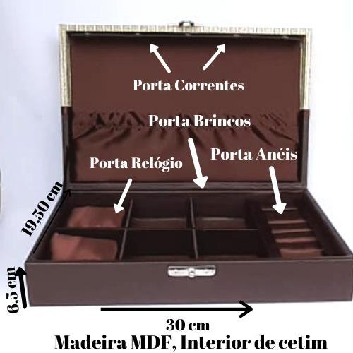 Maleta Porta Jóia/relógios Luxo Mdf Couro Eco. Frete Grátis
