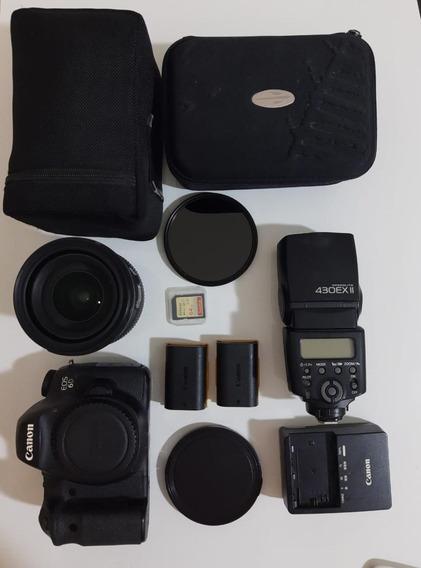 Canon Eos 6d Com Lente, Flash, Baterias, Carregador Etc.