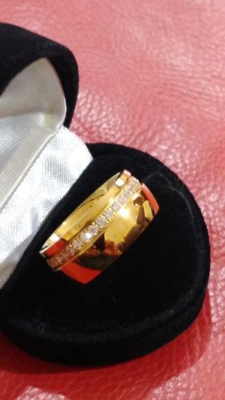 Anel Ouro Com Zirconia Lindo