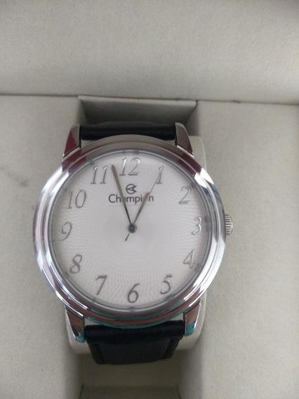 Relógio Champion Prata Com Pulseira De Couro
