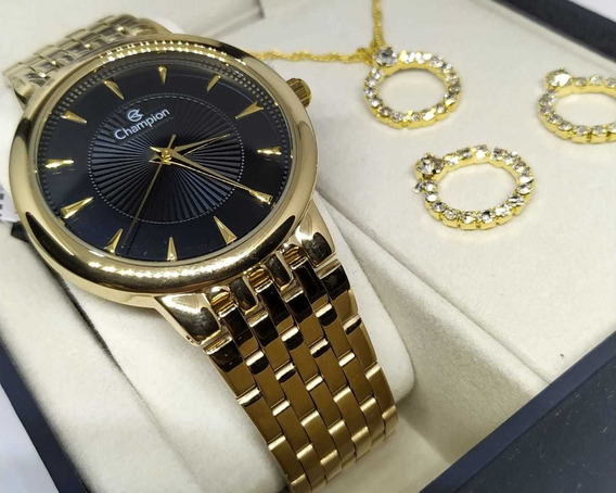 Kit Relógio Feminino Dourado Champion Cn20515k