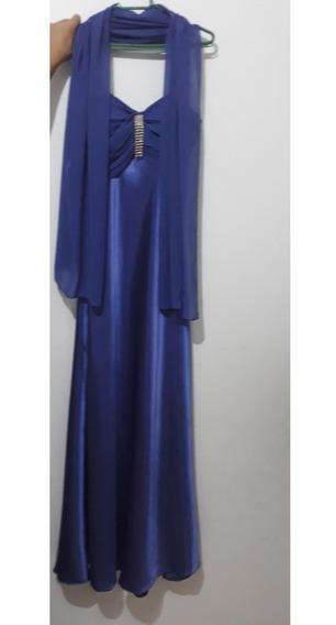 Vestido De Festa Longo Azul Em Cetim