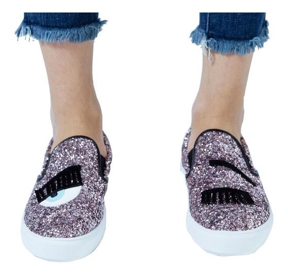 Customs Ba Zapatos Mujer Zapato Brillos Panchas Zapatillas E