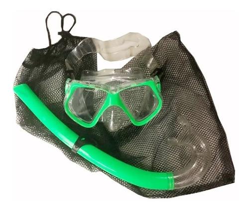 Snorkel + Mascara Buceo + Bolsas De Capturas