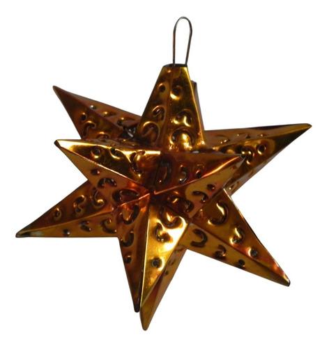 Imagen 1 de 5 de Esferas Navideñas Artesanales,10  Estrellas De Latón Naranja