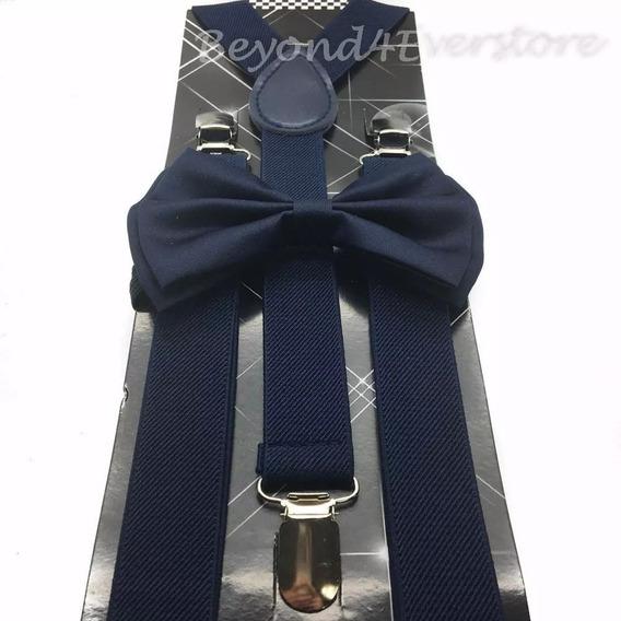 Kit Suspensório + Gravata Borboleta Azul Marinho Ref:244/247