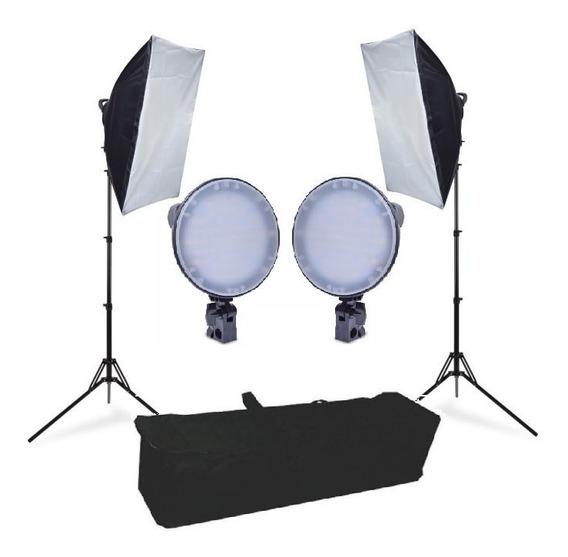 Estúdio E Iluminação Flashes Softbox 50x70 Luz De Led Easy -bicolor