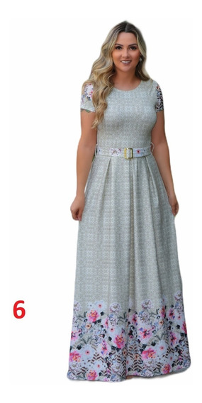 Vestido Longo Pregas Estampado Moda Evangélica Kit C/9 Peças
