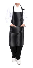 Mandil O Delantal Master Chef Con Peto Negro Rayas Blancas