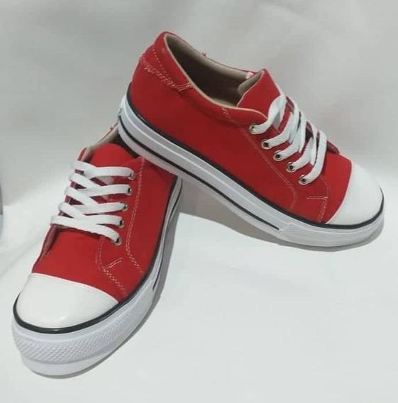 Zapatillas Roja Con Suela Alta - De Lona