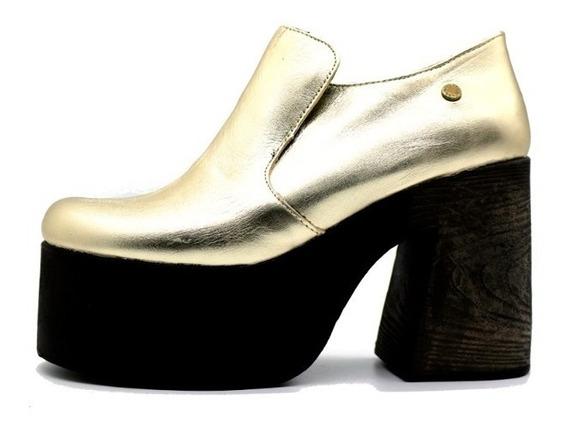 Zapato Mujer Cuero Plataforma Oro Leblu 409