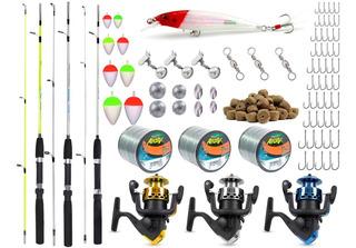 Kit Pesca Completo 3 Varas 3 Molinetes+ Acessórios 81 Itens