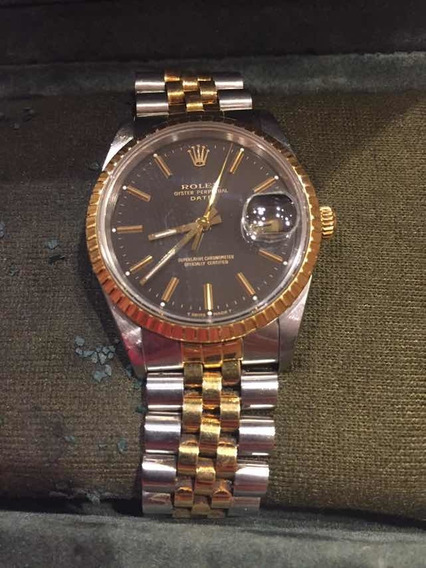 Rolex Oyster Perpetual Date Ac/ Oro 14k Carátula Negra Suizo