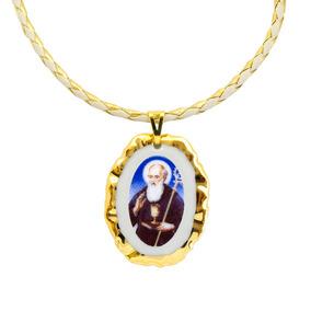 Medalha De São Bento Ouro E Corrente Couro Sintético