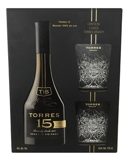 Brandy Torres 15 700 Ml Incluye 2 Vasos Cristal