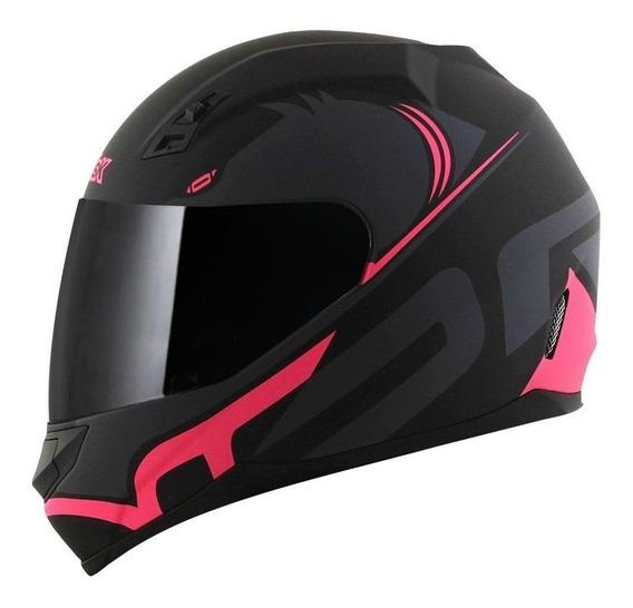 Capacete para moto integral Norisk FF391 Squalo matt black, pink tamanho 58