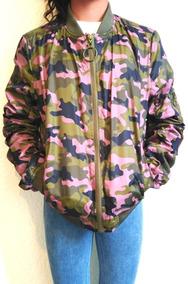 Chamarra Mujer Dama Bomber Camuflaje/militar Tonos Rosas