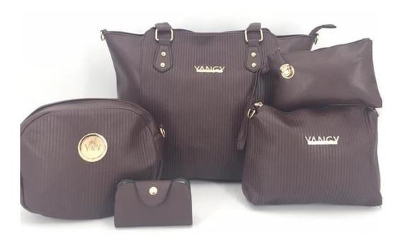 Bolsa Dama Yangy Combo 5 Pza Moda Calidad Gran Promoción