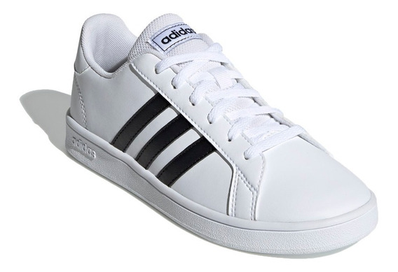 Tênis adidas Grand Court Branco Listras Pretas Esport Ef0103