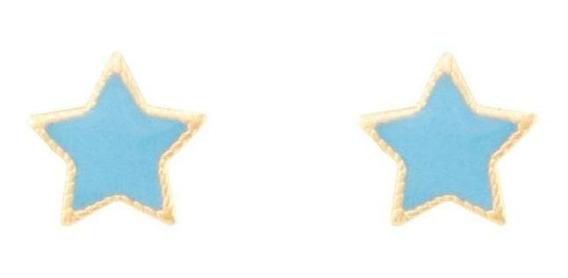 Brinco Estrela Com Resina Azul Semijoia Esmaltada Ouro 18k