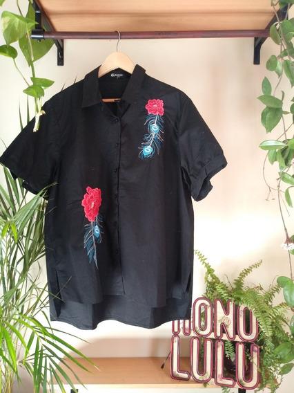 Camisa Manga Corta Bordada De Algodon 6xl Talle Especial