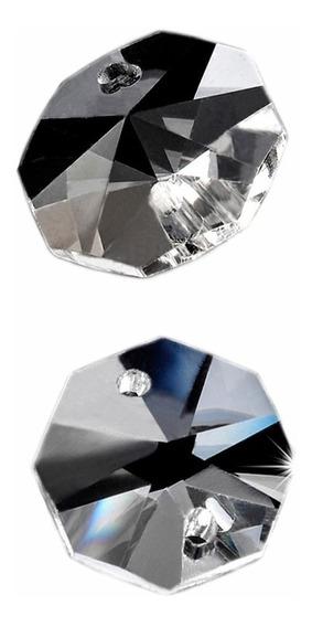 Piedra De Cristal Octagon De 14 Mm, Caja Con 2000 Pz Y 2000 Aros De Metal.