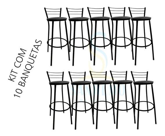 Kit 10 Banquetas Alta Preta Ou Prata Bistro Balcão Para Bar