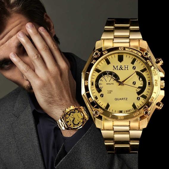Moda Ouro Marca De Luxo M & H Quartzo Relógio De Pulso Mascu