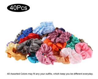 40 Unids Scrunchies Scrunchies Satin Elastic Hair Bandas Scr