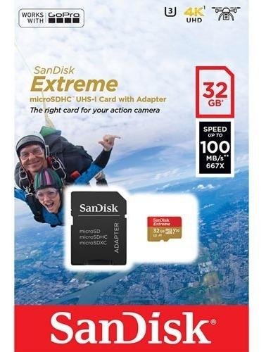 Sandisk Extreme 32gb 4k (adap. Microsdxc A Sd Incluido)
