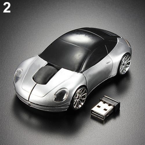 Prata Acessórios Computador Corrida Carro Em Forma 2.4ghz 3d