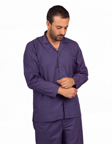 Pijama Manga Larga Color Azul Con Estampado