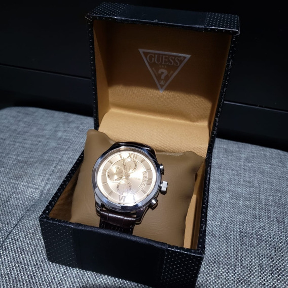 Relógio Guess U0192g1 Prata & Dourado C/ Pulseira Couro S/j
