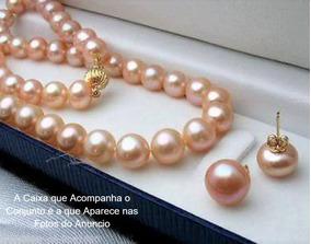 Colar E Brinco De Pérolas Rosas Genuínas D1016 +caixa Veludo