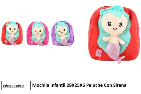 Mochila Infantil Peluche Con Sirenita